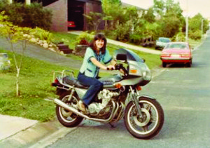 Deb on Honda 750